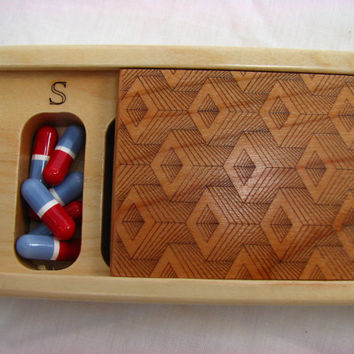 Patterned Laser Engraved Box No. 7, Solid Cherry Top, Solid Maple Bottom, Pill/Medication Box, Vitamin Organizer, Wood Box, Op Art