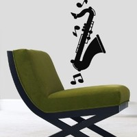 Wall Decor Vinyl Decal Stickes Saxophone Musical Notes Musical Instruments Kj238