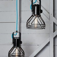 Vintage Industrial 1980's Black Pendant Lights