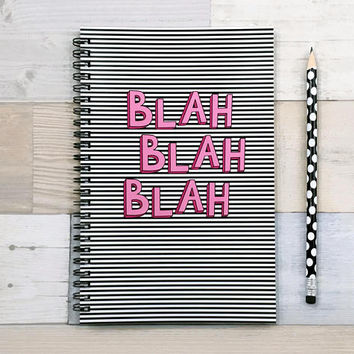Bullet journal, spiral notebook, writing journal, sketchbook, cute journal, pink black, blank lined dot grid graph paper - Blah Blah Blah