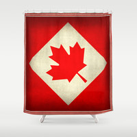 Canada flag, grunge treated edition in square format Shower Curtain by Bruce Stanfield