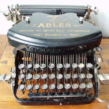 Typewriter 1920 Year Adler Modell 7 Antique German Manual Black Vintage Writing Machine Working, No Ribbon