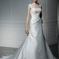 A-line Square Rhinestone Sleeveless Court Trains Organza Wedding Dresses YSP0075 | $144.69 | Maryswill.com.