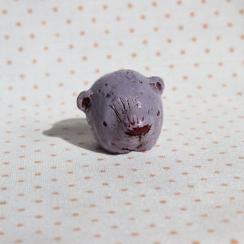 OOAK bear figurine small animal rustic totem primitive lilac mauve purple white brown