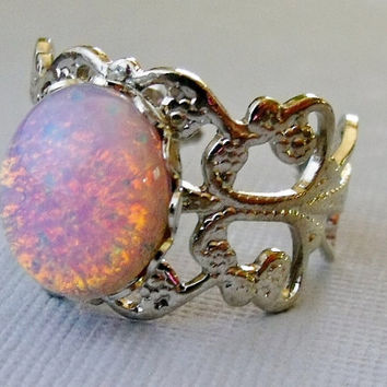 Pink Opal Ring Silver Adjustable Glass Stone