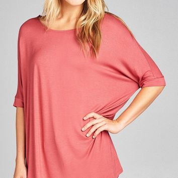 Jersey Tunic Top w/ Elbow Sleeves +10 More Colors