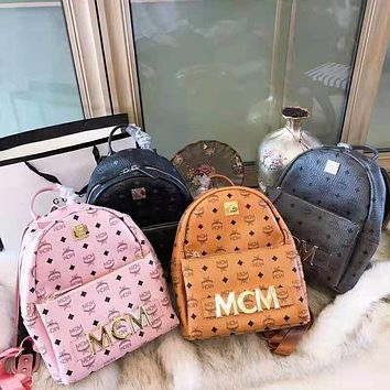MCM 2018 new rivet printing large capacity backpack casual fashion backpack