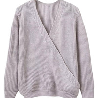Gray Wrap V-neck Long Sleeve Knitted Jumper