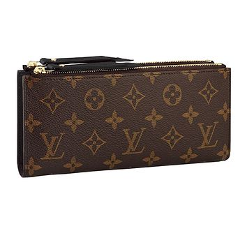 Louis vuitton hot seller of women's printed double zipper wallets with stylish clutch bags Black #1