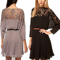 Plus Size Sexy lace batwing Chiffon Dress ( Color:Black ) = 1946264004