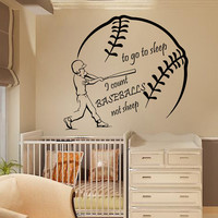 Sport Boy Wall Decals Wall Words To Go To Sleep I Count Baseballs Not Sheep Home Art Vinyl Decal Sticker Kids Nursery Baby Room Decor kk774