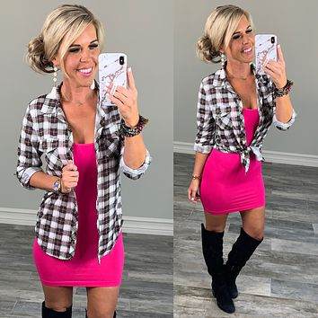 Penny Plaid Flannel Top - Pink/Ivory