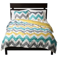 Gray White Yellow Turquoise Chevron Zig Zag Queen Comforter and Shams (3 PC) Bedding Set