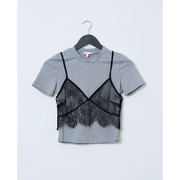 Unmistakable Double Layer Crop Top - Gray/Black