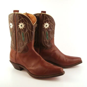 Inlay Cowboy Boots Vintage 1950s  Frye 50s Brown Leather Men's 10 D