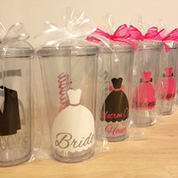 Now in 20 oz - Qty 6 Bridal Party gift Personalized acrylic tumbler w/ lid and straw, Bridesmaid, bride, Flower girl dress, name or monogram