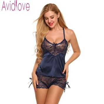 Avidlove Homewear Sexy Silk Satin Women's Pajamas Lingerie Set Lace Pijama Mujer V-neck Nightgown Sleepwear Nightwear for Women