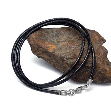 TimMilyar Men Necklace PU Leather Necklace Black Braided Cord Width 2.5mm Necklaces Chain Fashion Jewelry Handmade Gift For Men