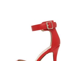 Point the Way Red Ankle Strap Heels