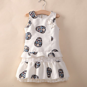 Little Girls Skull pattern Dresses