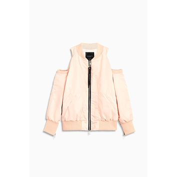 cold shoulder bomber / pink