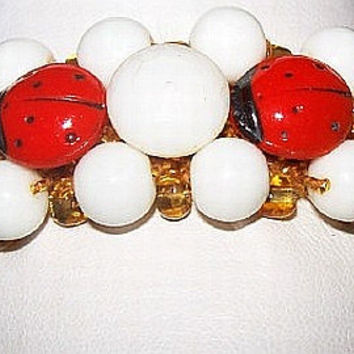 Lady Bug Bracelet Stretch Style Red & White Glass Beads Gold Mesh 1' W Vintage