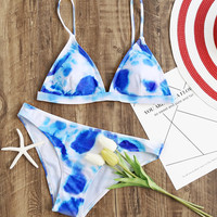 Blue And White Triangle Bikini SetFor Women-romwe