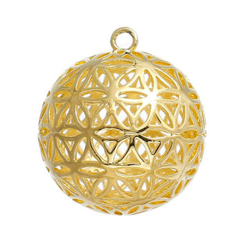 "DoreenBeads Copper Flower Of Life Charms Pendants Round Gold Plated / Silver tone Hollow Carved 28mm(1 1/8"") x 25mm(1""), 1 Piece"