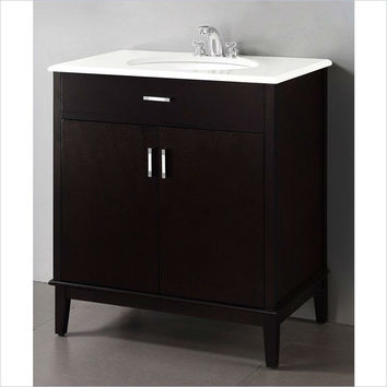 Modern Bathroom Vanity in Dark Brown Espresso with Sink & White Marble Top