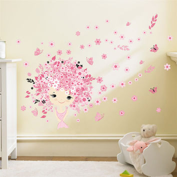 flower Flower Fairy pink cute baby girl Mermaid butterfly home decor wall sticker for girls baby kids room wall art diy poster