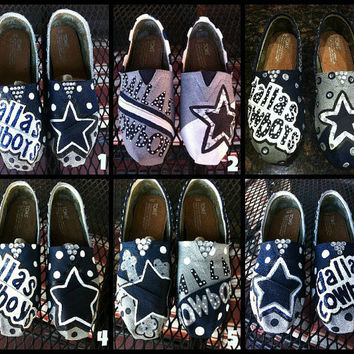 Handpainted Dallas Cowboys TOMS Shoes by TheCraftyAttique on Etsy 72fc8eb1b