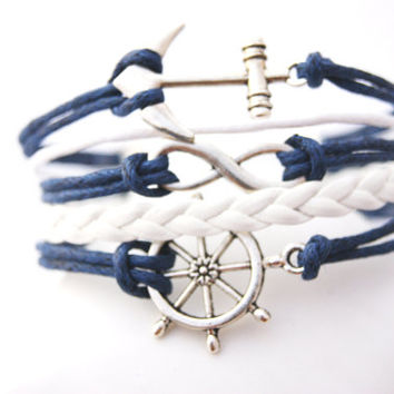 5 Strand Blue and White Infinity Anchor Rudder Faux Leather Braid Cord Bracelet (Adjustable Sizing)