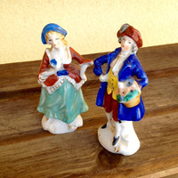 Two Vintage Hand Painted Porcelain  Colonial Miniature Figurines - Made in Occupied Japan