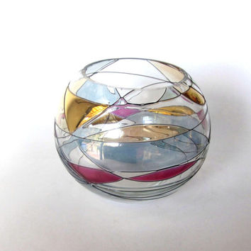 Colorful decorative glass bowl. Trinket dish. Trinket bowl. Ball shape. Gold glassware. Glass colorful decor. Vintage.