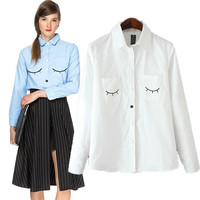 Embroidered Long-Sleeve Button Collared Blouse