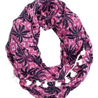 Palm Tree Infinity Scarf With Tassel Trim by Juicy Couture