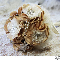 Honey and Champagne handmade wedding bouquet, bridal bouquet, bridal flowers, shabby chic fabric flowers, brooches and rhinestones