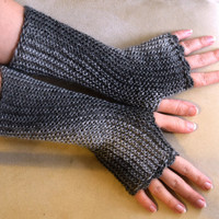 Silver gray fingerless mittens, fingerless gloves, hand knit fingerless mitts, arm warmers, choose from more colors, size XS to L
