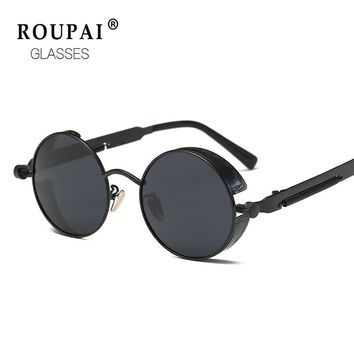 ROUPAI Gothic Round Polarized Steampunk Sunglasses men brand designer fashion retro Mirror sun glasses for women men 2671
