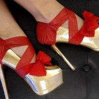 Red Pumps / High Heels - Red Leather and Chiffon Heel | UsTrendy