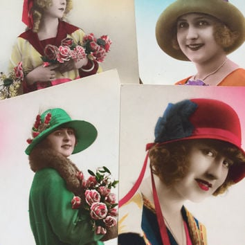 Set of four cards 1920s French ladies with hats * Same series bright colors * Smiling ladies 1920s fashion * Antique Postcards