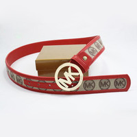 MK Men Woman Fashion Smooth Buckle Belt Leather Belt