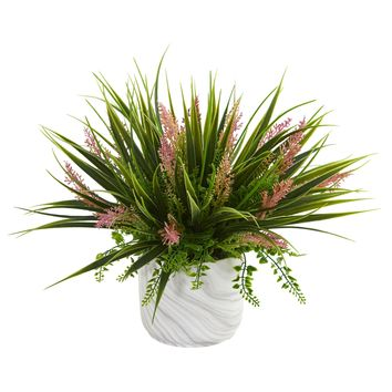 Artificial Plant -Grass and Fern Plant in Marble Finished Vase