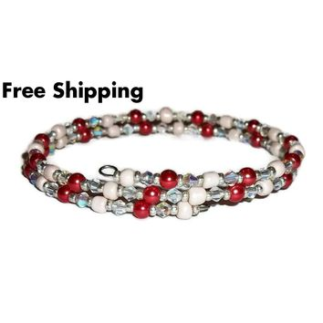 Plus Size Elegance Red Glass Pearl, Clear Glass & Cream Glass Beaded Stackables Artisan Crafted Double Wrap Bracelet (L-XXL)