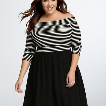 Striped Off Shoulder Skater Dress