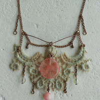 Floral Necklace with Tourmaline+Jade+Lace+Glass+Copper! ~Spring Mornings~ Romantic Floral Spring Lace Delicate Necklace in Apricot Pink+Tan!