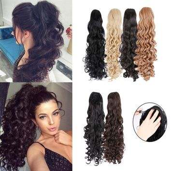 Drawstring Pony Tail Extensions Clip Brown Blonde Hairpiece Ponytail Long Curly