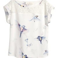 H&M - Blouse with Lace - Natural white - Kids
