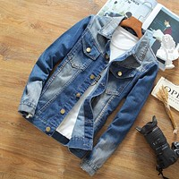 Spring Jean Slim Fit Denim Jacket Men