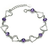 "Rhodium Plated 925 Sterling Silver Amethyst Bracelet 7.5""-sb3047: Jewelry: Amazon.com"